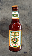 Cajun Paintings - Dixie Beer Bottle by Elaine Hodges