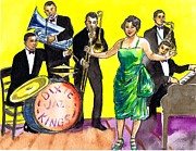 Trombone Drawings Posters - Dixie Jazz Kings Poster by Mel Thompson