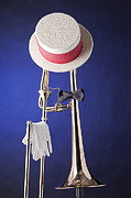 Trombone Glass - Dixieland Hat and Trombone by M K  Miller