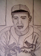 Pitcher Drawings Metal Prints - Dizzy Dean Cardinals pitcher Metal Print by De Beall