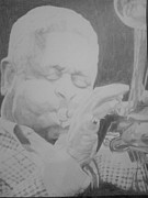 Trumpet Player Drawings - Dizzy Gillespie by Milton  Gore