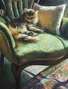 Chair Pastels Metal Prints - Dizzys Sunbath Metal Print by Gretchen Ten Eyck Hunt