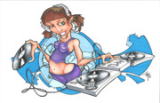 Hip Drawings - DJ Girl by Tuk