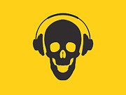 Yellow  Digital Art Posters - DJ Skeleton Poster by Pixel Chimp