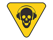 Yellow  Digital Art Posters - DJ Skull on hazard triangle Poster by Pixel Chimp