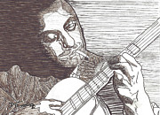 Acoustic Guitar Drawings - Django by David Fossaceca