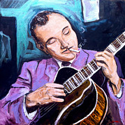 Guitar Painting Framed Prints - Django Reinhardt Framed Print by Vincent Thibodeaux