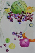 Yello Paintings - Djangos Grapes by Beverley Harper Tinsley
