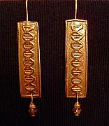 Gold Earrings Art - DNA Bronze Earrings with Swarvoski Crystals by Cydney Morel-Corton