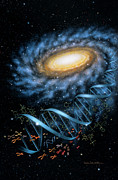 Space Paintings - DNA Galaxy by Lynette Cook