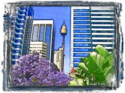 Sydney Photographs Prints - DO-00285 Sydney Centre Tower in Spring Print by Digital Oil