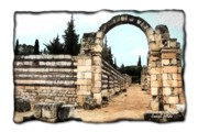 Roman Ruins Digital Art Posters - DO-00310 Arcade in Anjar - Black Edges Poster by Digital Oil
