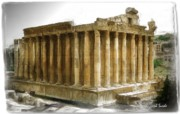 Roman Ruins Digital Art Posters - DO-00311 The Temple of Bacchus Baalbeck - Black Shade Poster by Digital Oil