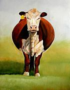 Cattle Painting Prints - Do I Look Fat Print by Toni Grote