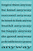 Inspirational Digital Art Originals - Do It Anyway by Mother Teresa by Leslie Fuqua