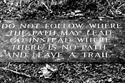 Emerson Quote Prints - Do Not Follow Where The Path May Lead Print by Susie Weaver