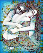 Couple Painting Prints - Do Not Leave Me Print by Albena Vatcheva