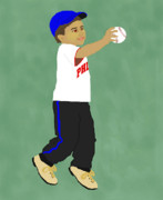 Baseball Drawings Acrylic Prints - Do You Want to Play Ball Acrylic Print by Pharris Art