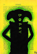 Bright Colors Drawings Metal Prints - Dobby Silhouette Metal Print by Jera Sky