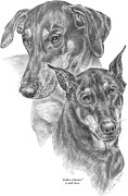 Pinscher Drawings Posters - Dober-Friends - Doberman Pinscher Dogs Portrait Poster by Kelli Swan