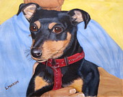 Doberman Paintings - Doberman miniature by Lorraine Marsh