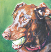 Doberman Paintings - Doberman red by Lee Ann Shepard
