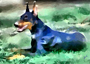 Doberman Pinscher Paintings - Dobie 2 by Patty Dunlap