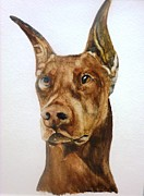 Doberman Paintings - Dobie by Jeanne Grant