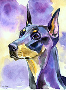 Doberman Pinscher Paintings - Dobie Mood Indigo by Lyn Cook