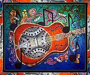 Music Tapestries - Textiles Metal Prints - Dobro - Slide Guitar-Bordered Metal Print by Sue Duda