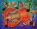 Hawaiian Tapestries - Textiles - Dobro - Slide Guitar by Sue Duda