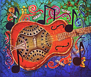 Hawaiian Tapestries - Textiles Prints - Dobro-Slide Guitar-2 Print by Sue Duda