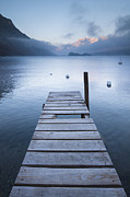 Engadin Valley Posters - Dock And Buoys, Lake Sils, Engadin, Switzerland Poster by F. Lukasseck