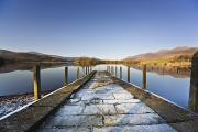 Reflections Of Sky In Water Photo Prints - Dock In A Lake, Cumbria, England Print by John Short