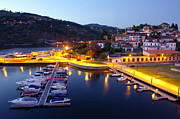 Marina Night Framed Prints - Dock in Douro River Framed Print by Carlos Caetano