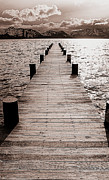 Brad Scott Prints - Dock of Lake Tahoe with Views of Mount Tallac Print by Brad Scott