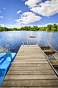 Rowboat Posters - Dock on lake in summer cottage country Poster by Elena Elisseeva