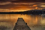 Water Vessels Posters - Dock On Lake Windermere At Sunset Poster by John Short