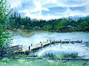 Waterscape Painting Metal Prints - Dock on Long Lake Metal Print by Zaira Dzhaubaeva