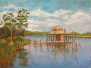 Gulf Pastels Framed Prints - Dock on the Bon Secour Framed Print by Ann Caudle