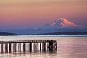 Wa.washington Framed Prints - Dock, Pier and Mountain Framed Print by Ned Frisk