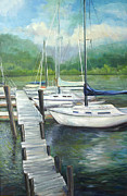 Boats At Dock Prints - Dock Side Print by Max Mckenzie