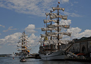 Tall Ships Prints - Docked at Fish Pier Print by Mike Martin