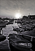 Boats Docked Prints - Docked in Rovinj Print by Madeline Ellis