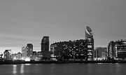 Canary Metal Prints - Docklands apartments BW  Metal Print by David French
