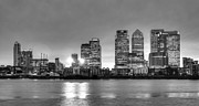 Canary Metal Prints - Docklands Canary Wharf sunset BW Metal Print by David French