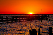 Chincoteague Framed Prints - Docks And Sunset Framed Print by Steven Ainsworth