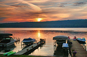 Finger Lakes Prints - Docks At Dawn Print by Steven Ainsworth