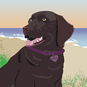 Chocolate Lab Digital Art Prints - Docksea Print by Cheryl Snyder
