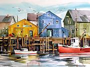 Boats At Dock Framed Prints - Dockside Framed Print by Art Scholz